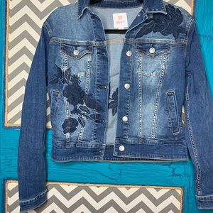 XS LuLaRoe demon jacket. Navy blue embroidery